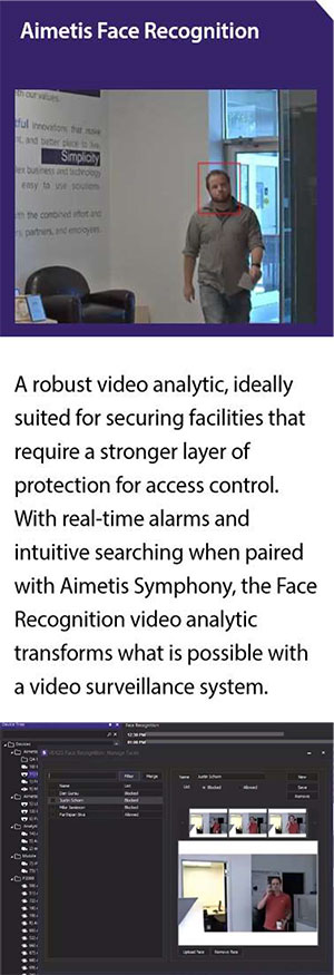 cctv security surveillance camera system security solutions supplier brand aimetis singapore face reco tech software a robust video analytic, ideally suited for securing facilities that require a stronger layer of protection for access control. With real-time alarms and intuitive searching when paired with Aimetis Symphony, the Face Recognition video analytics transforms what is possible with a video surveillance system